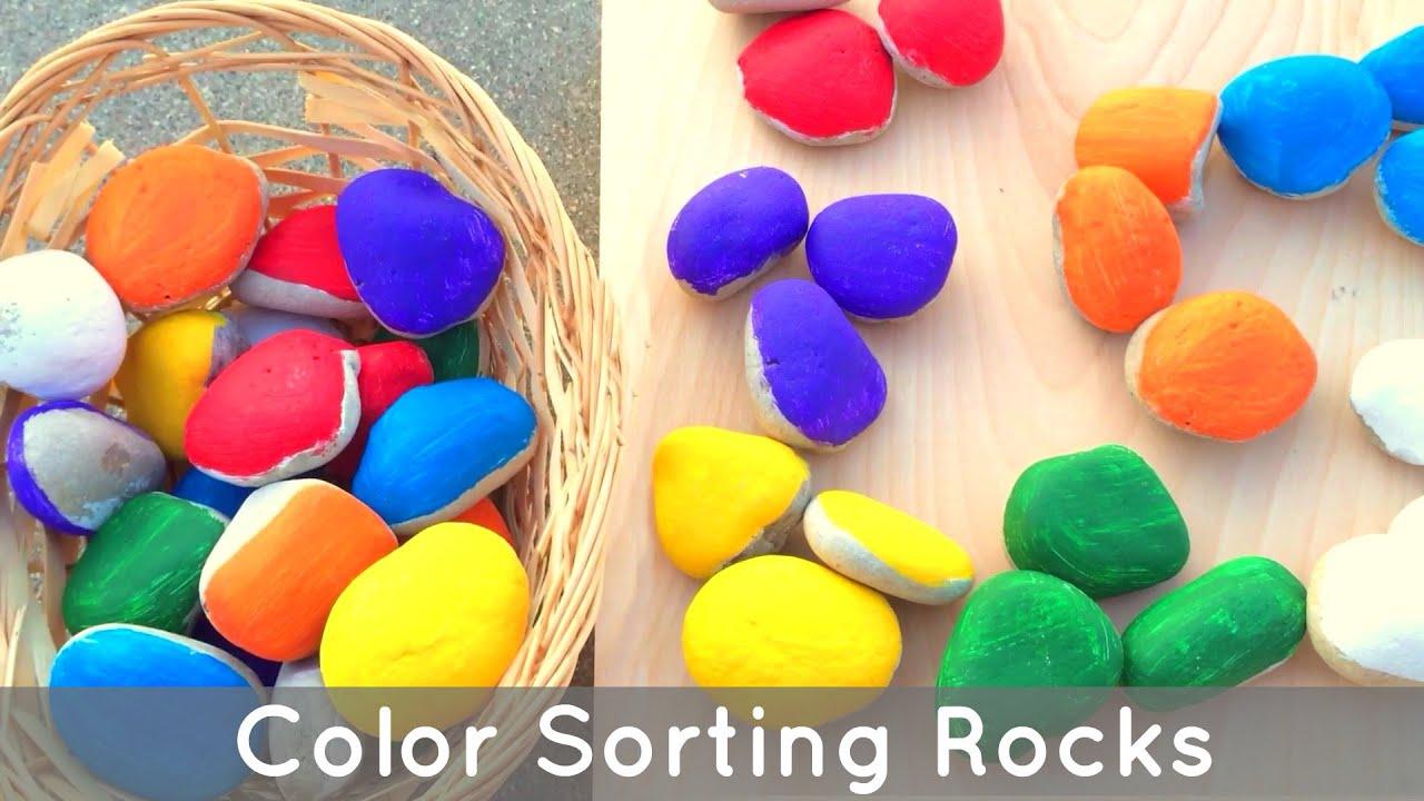 Color Sorting Rocks Preschol And Kindergarten Learning Activity