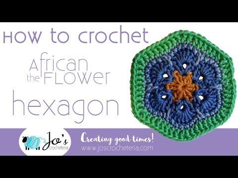 "Crochet African Flower ""Hexagon"" Video tutorial by Jo's Crocheteria"