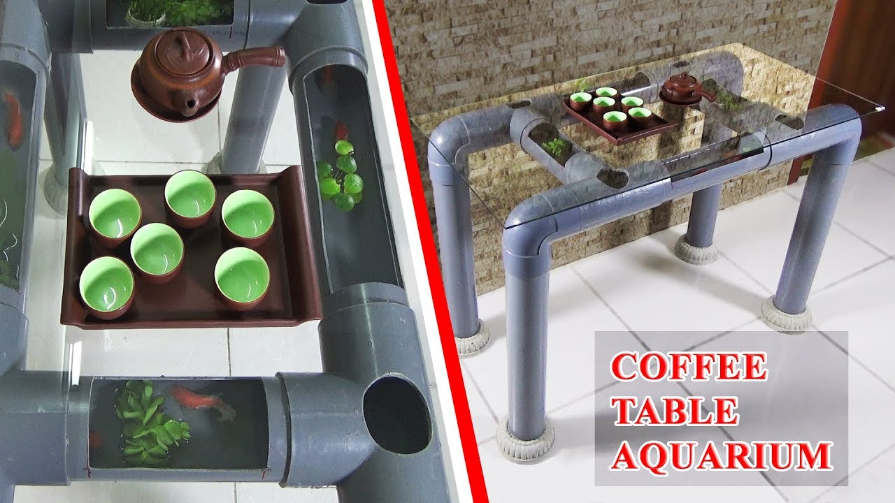 How To Make Beautiful Coffee Table Aquarium Using Pvc Pipes Youtube