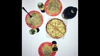 Карбонара с беконом и сливками, пицца из морепродуктов