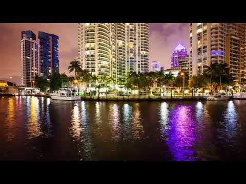 fort lauderdale florida skyline at night on new river