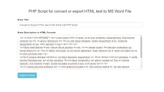 PHP Script for convert or export HTML text to MS Word File