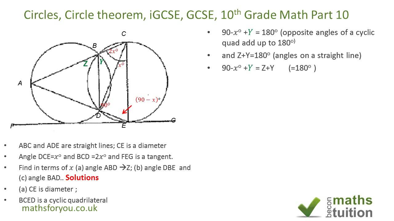 Circles, Circle theorem, iGCSE, GCSE, 10th Grade Math Part ...