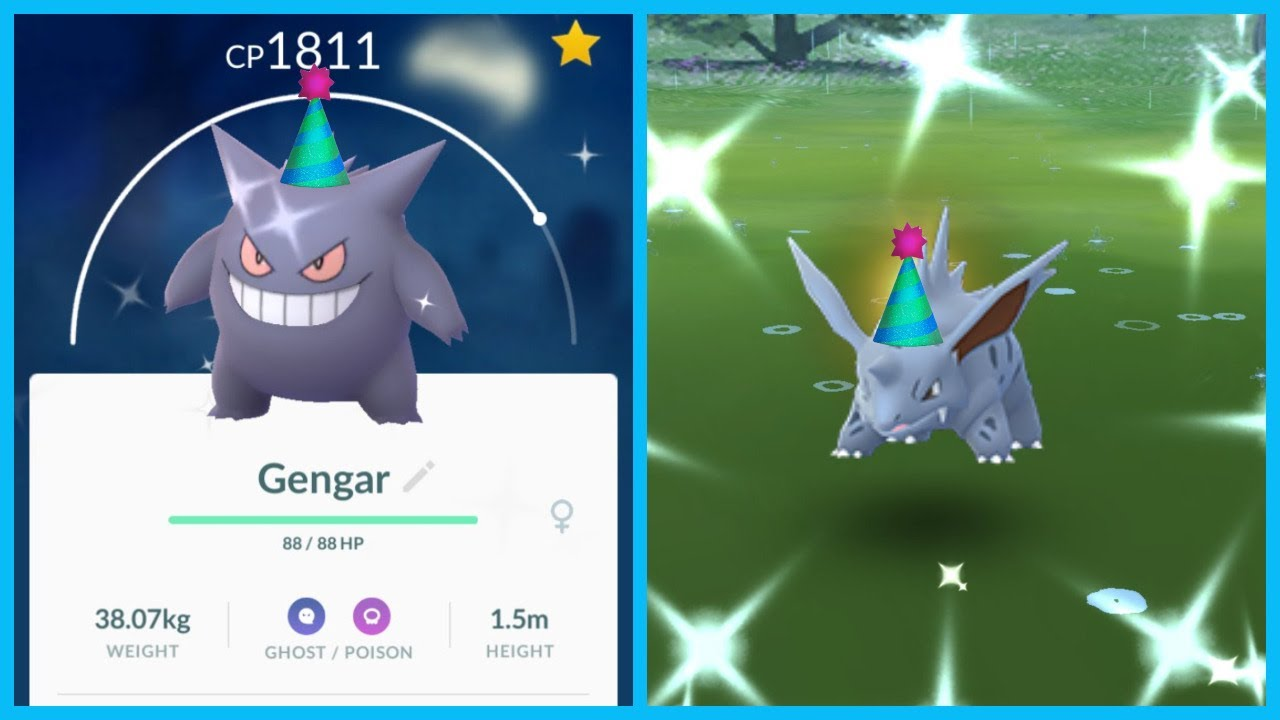 New Raid Day Event In Pokemon Go Shiny Party Hat Gengar And Nidorino Youtube
