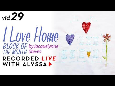 "Needle turn appliqué flower on Block 3 - Vid 29 ""I Love Home"" BOM - Designer Series #RelaxAndCraft"
