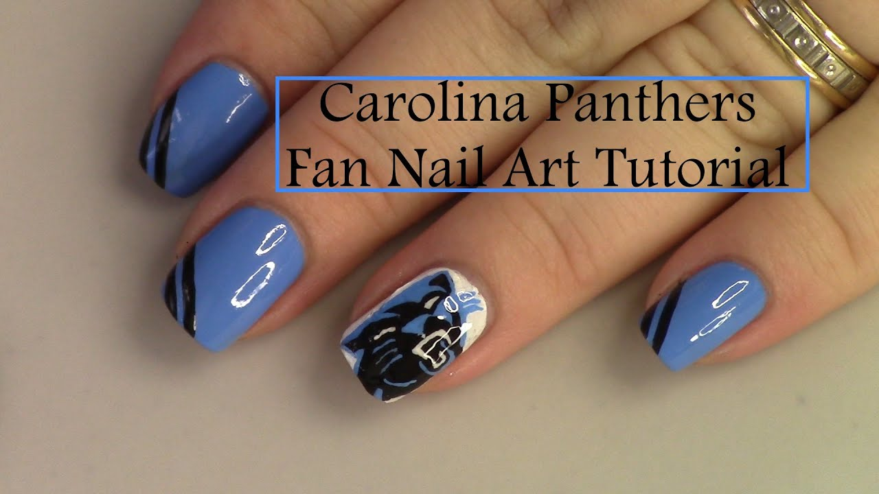 Carolina Panthers Fan Nail Art Tutorial - YouTube