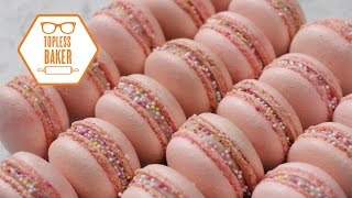 One of Topless Baker's most viewed videos: Strawberry Macaron Recipe – Topless Baker