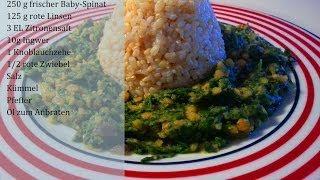 ROTE LINSEN MIT SPINAT - einfaches veganes Gericht LOW FAT Thumbnail