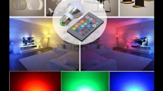 Светодиодная лампа с пультом управления, меняет цвета в 16 оттенков
