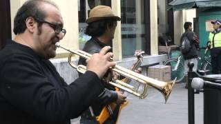 Jhiens Panta and Joe Moraya playing Europa in streets of Lima, Perú.