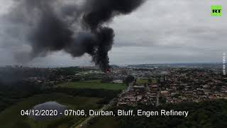 Plumes of Smoke | Drone footage of fire after explosion at Durban refinery