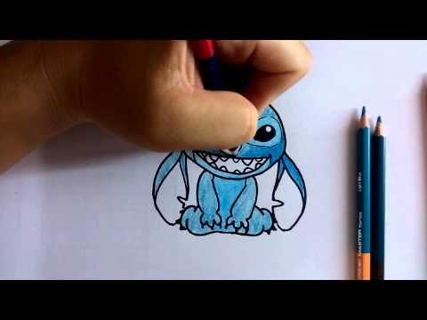 สอนวาดรูป ระบายสี การ์ตูน Stitch ท่านั่ง วาดการ์ตูนกันเถอะ