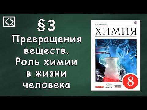 Видеоуроки по химии 8 класс превращение веществ роль химии в жизни человека