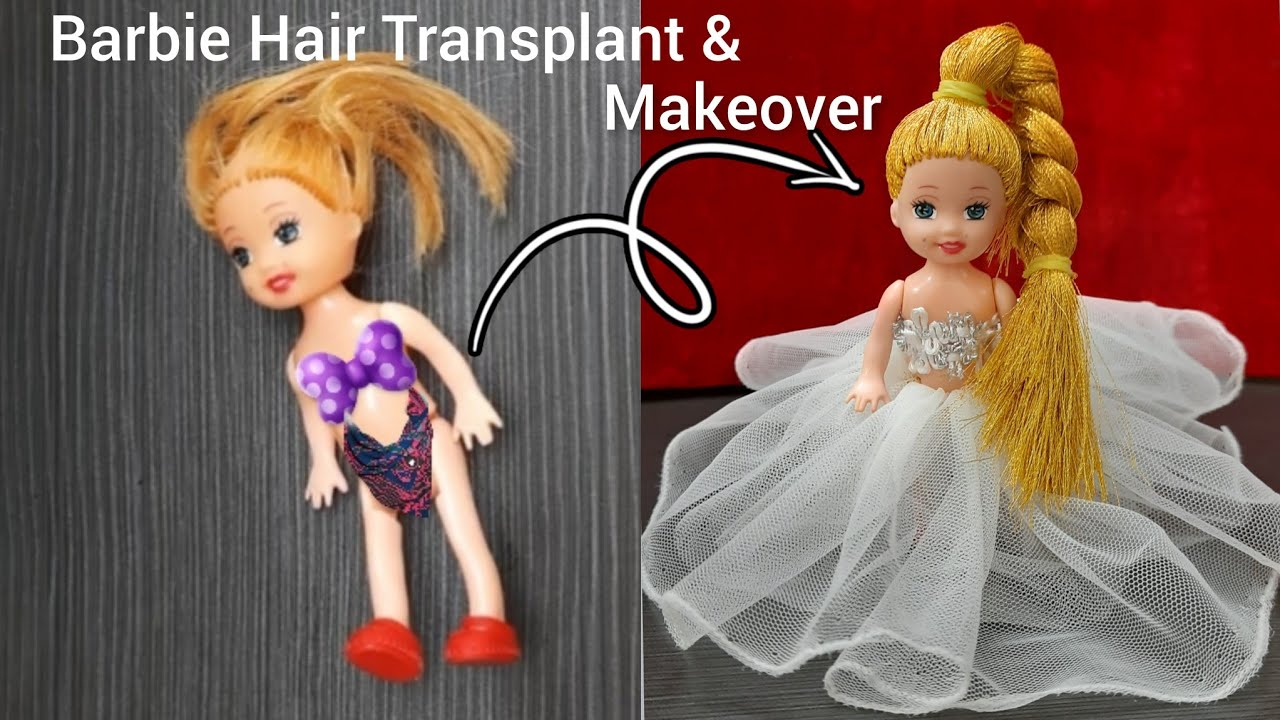Making of Barbie Hair from silk thread : how to make doll hair : Barbie makeover hacks