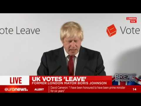 [Live footage] Boris Johnson reacts to the Brexit vote