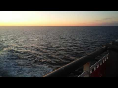 Views from top deck on cruise on baltic sea