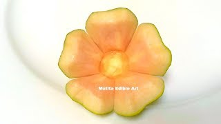 Simple Button Flower Paw Paw Or Papaya   Beginners Lesson 80   By Mutita Art Of Fruit Veggie Carving