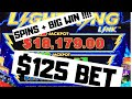 $125 Bet 9 spins on Lightning Link (BIG WIN) in High Limit With HAND PAY JACKPOT