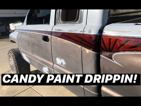 Spraying METALFLAKE and CANDY PAINT on the COWBOY CADILLAC CUMMINS!