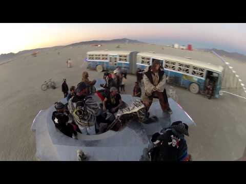 Cosmic Carousel - Spinning view from top with art car stopping by - Burning man 2012