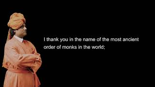 Swami Vivekananda's speech at the World's Parliament of Religions. Clean Sound