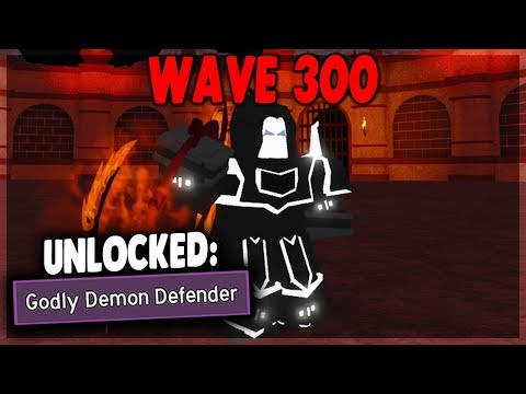 UNLOCKING THE BEST TITLE IN WAVE DEFENCE *Godly Demon Defender* Dungeon Quest (ROBLOX)