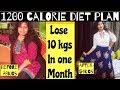 1200 calorie diet plan for weight loss    Lose 10 kgs in a month   Veg Diet Plan   Azra Khan Fitness