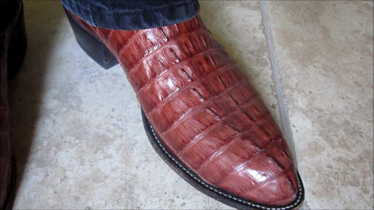 Tony Lama Almond Hornback Caiman Crocodile Boots Youtube
