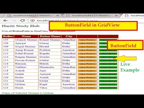 How To Use ButtonField In GridView Asp.Net | Hindi | Learn Asp.Net