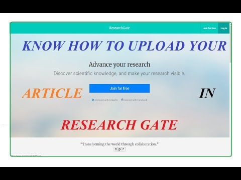 Step by Step Procedure Of how to Upload Your Research Article in Research Gate