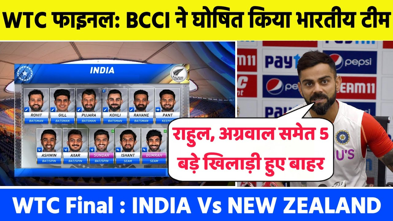 BCCI Announce India confirm Team Against New Zealand For ICC World Test Championship Final Match