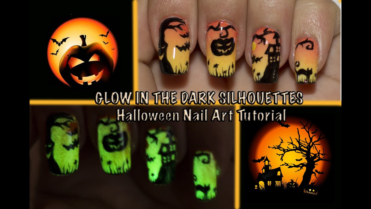 GLOW IN THE DARK Halloween Silhouettes Nail Art tutorial ...