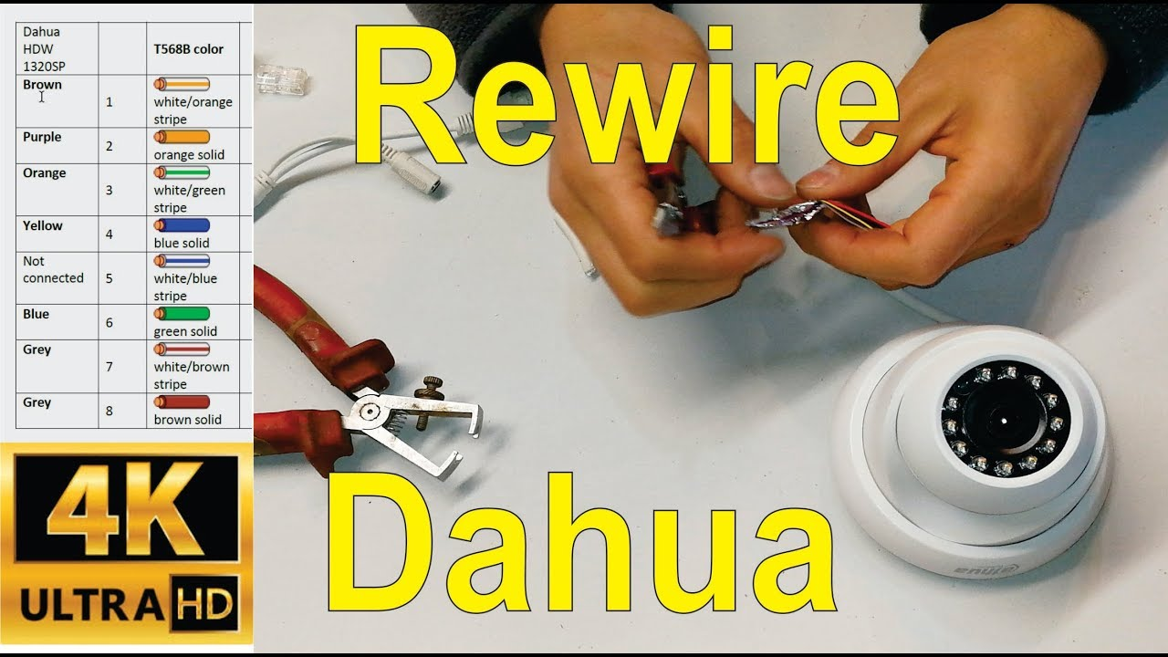 How to re wire a broken Dahua IP camera cable CAT5e