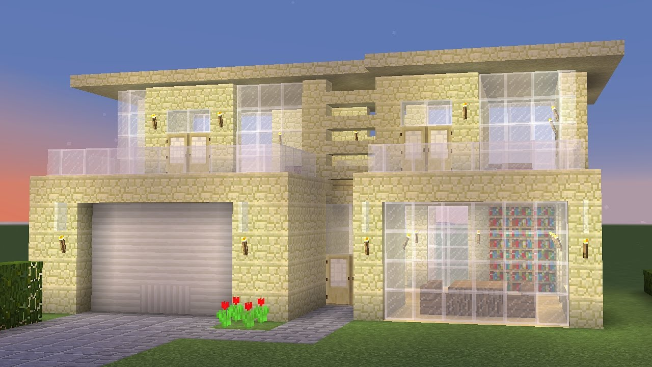 Minecraft how to build a modern sandstone house youtube for How to build a modern house