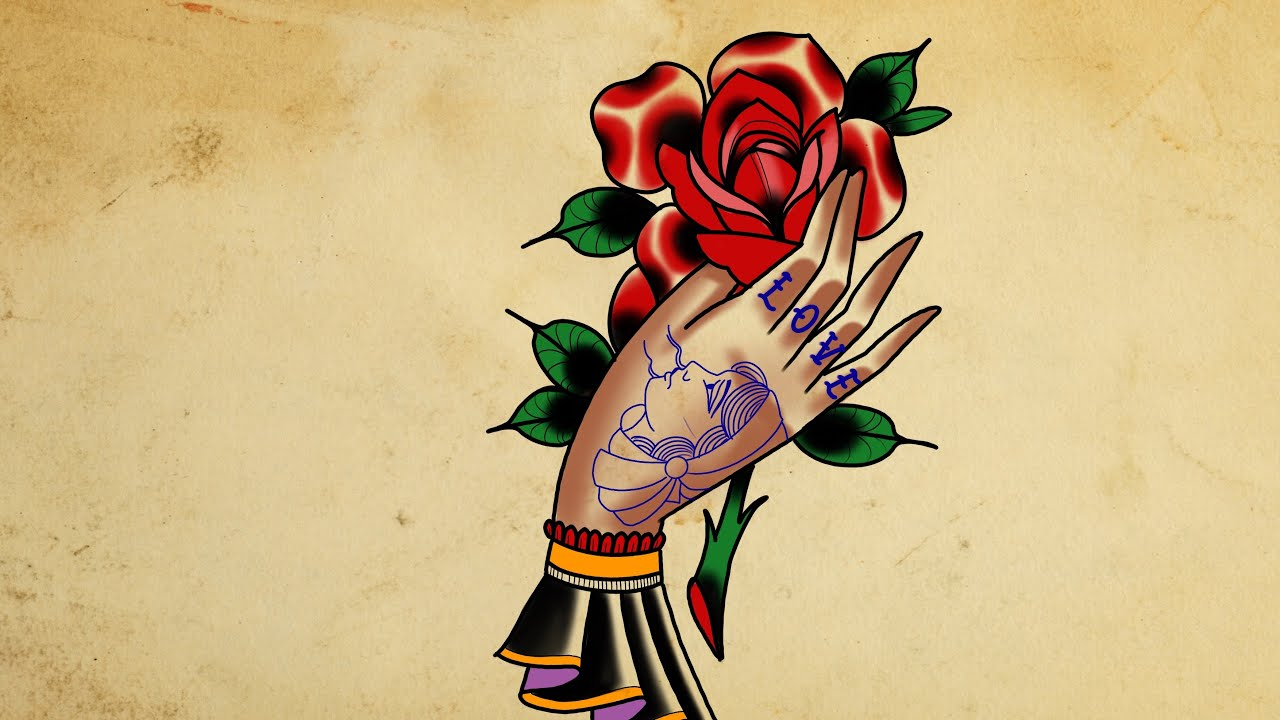 How To Draw A Hand Holding Rose Tattoo Style Youtube