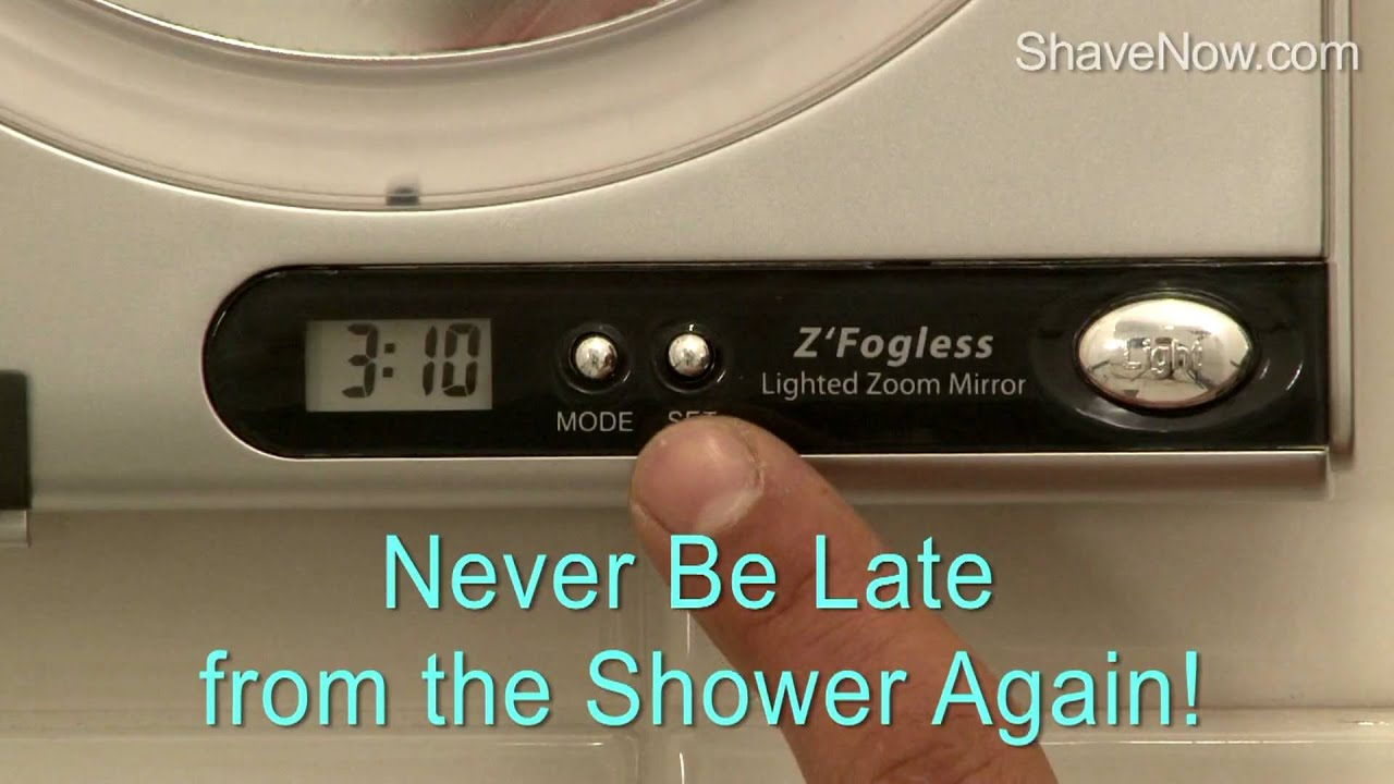 Fog Free Shower Mirror With Surround Sunlight Magnification And Digital Clock Shavenow Com