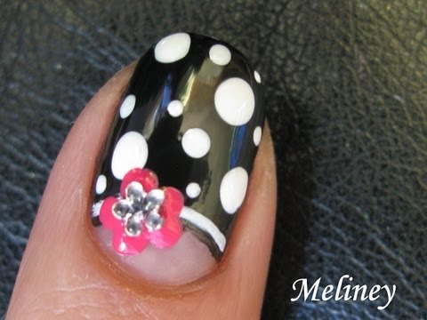 Easy Nail Art Tutorial Moon Flower Black Amp White Dots Half Moon French Manicure Design Short