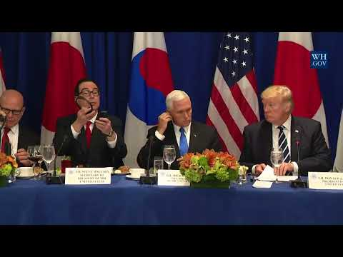 President Trump with the Prime Minister of Japan and the President of the Republic of Korea