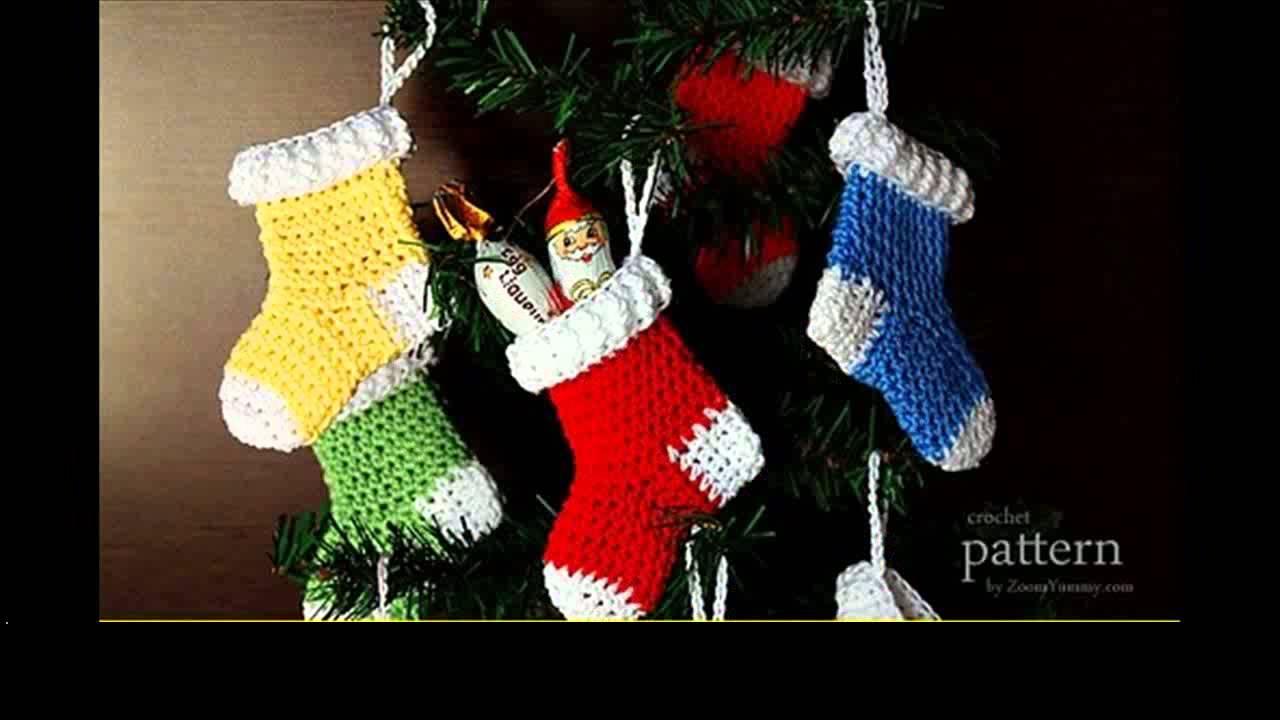 easy crochet christmas stocking patterns - YouTube