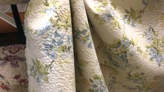 Floral Blue Tan Green Quilted Upholstery Drapery Fabric By The Yard 54 Inch
