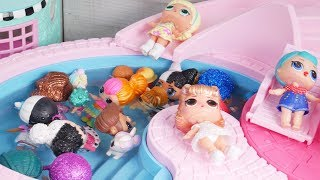Masquerade Barbie Family DIY LOL Family Custom Pool Craft With Food