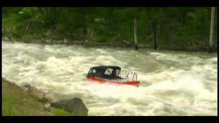 Three Jet Boats run Slalom Rapid on the South Fork of the Payette