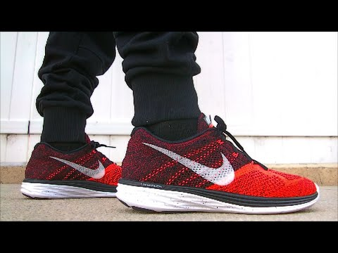 sports shoes 10dfc 17450 Nike Flyknit Lunar 3 (bright crimson   red) on feet - YouTube