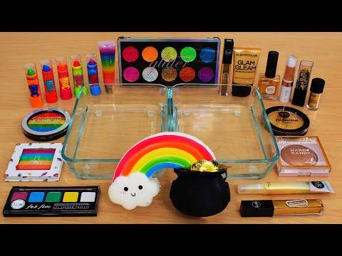 Rainbow Vs Gold - Mixing Makeup Eyeshadow Into Slime ASMR 342 Satisfying Slime Video