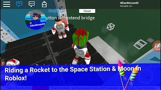 Riding a Rocket to the Space Station and Moon in Roblox