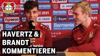 Talente auch am Mikrofon: Kai Havertz und Julian Brandt kommentieren ein besonderes Leverkusener Tor