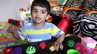 Play and learn to cut fruits and vegetables in kids kitchen   How to play with vegetables