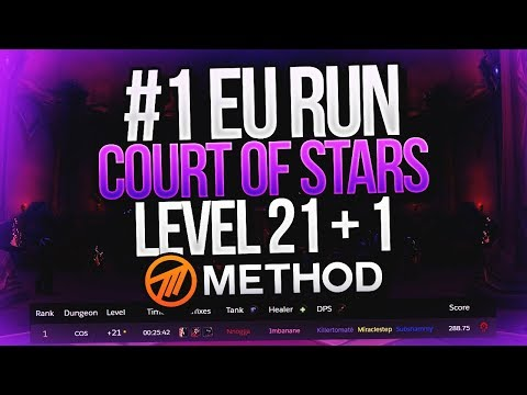 #1 EU RUN! Level 21+1 Court of Stars Mythic+ Blood DK Tank Nnogga POV - Method