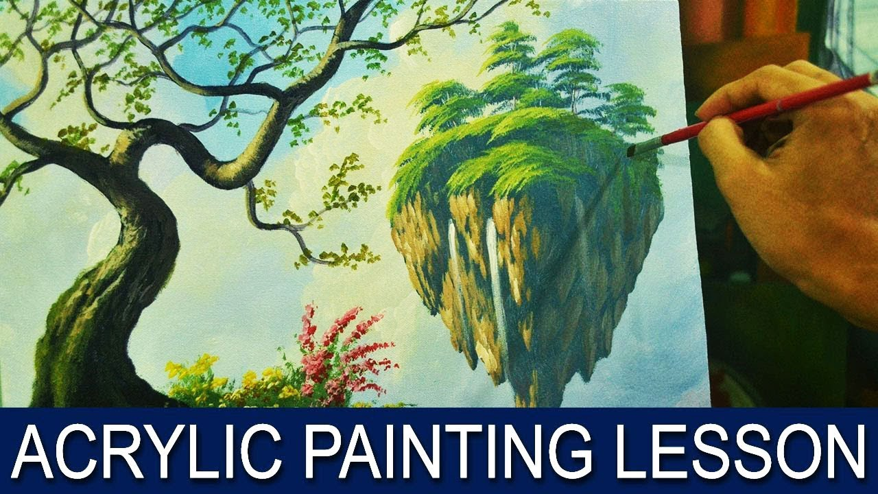 Acrylic Landscape Painting Lesson Surreal Floating