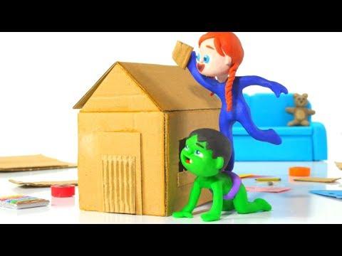 SUPERHERO BABIES BUILD A TOY HOUSE ❤ Spiderman, Hulk & Frozen Elsa Play Doh Cartoons For Kids